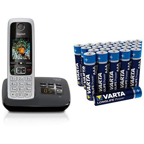 Gigaset C430A Telefon - Schnurlostelefon/Mobilteil - mit TFT-Farbdisplay/Dect-Telefon - mit Anrufbeantworter & Varta Longlife Power Batterie AAA Micro Alkaline Batterien LR03 - 24er Pack Aaa-alkaline-family Pack
