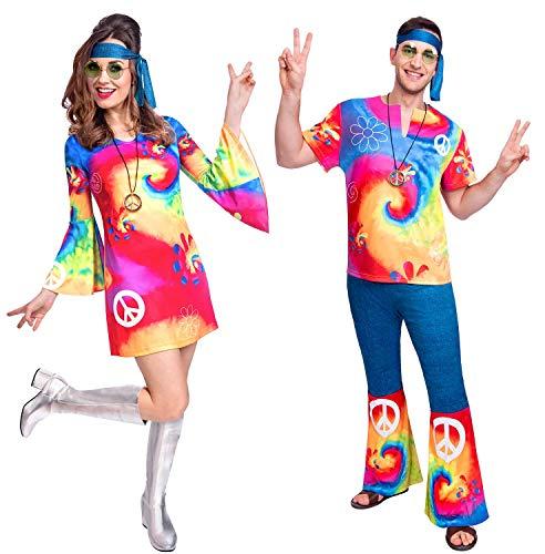Fancy Me Hippie-Kostüm für Paare, Hippie, 60er / 70er Jahre, bunt, Ladies Uk 10-12 & Mens - Zehn Jahren Kostüm Für Paare