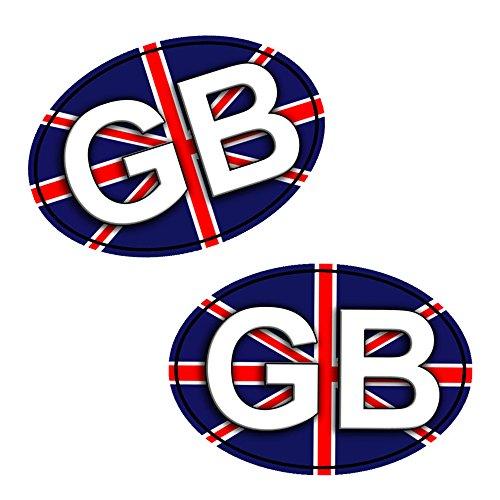 2 x Adesivi Vinile Stickers Regno Unito GB Bandiera United Kingdom Union Jack Per Auto Moto Finestrìno Porta Casco Scooter Bici Motociclo Racing Tuning B 198