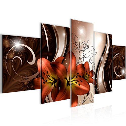 Bilder Blumen Lilien Wandbild 200 x 100 cm Vlies - Leinwand Bild XXL Format Wandbilder Wohnzimmer Wohnung Deko Kunstdrucke Rot 5 Teilig - Made IN Germany - Fertig zum Aufhängen 208451a