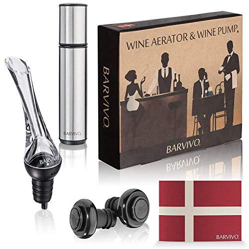 Barvivo Weinbelüfter und Weinspenderpumpe mit 2 Vakuum-Flaschenverschlüssen, auslaufsicher, einfach zu verwenden und preiswerten Weingeschmack dreimal so gut und halten Sie ihn für 14 Tage frisch