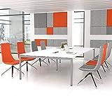 NOVA Konferenztisch 320x164cm Weiß mit ELEKTRIFIZIERUNG Besprechungstisch Tisch, Gestellfarbe:Silber