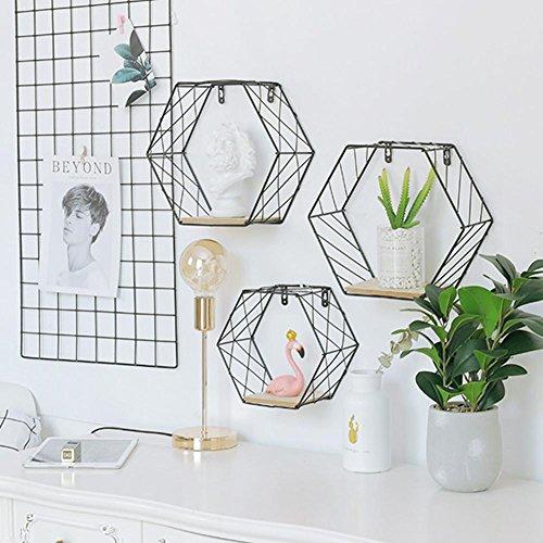 Estante de pared de hierro geométrico hexagonal para colgar en la pared,...