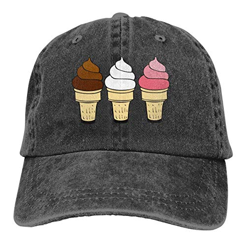 Cream Ice Herren Mann Kostüm - cvbnch Cowboy-Hut Sonnenkappen Sport Hut Three Ice Cream Men's Women's Adjustable Baseball Hat Denim Fabric Hip-hop Cap Sports Cool Youth Golf Ball Unisex Hiking Cowboy hat hip hop