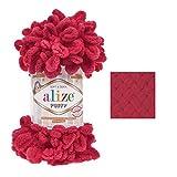100g Strickgarn Alize Puffy, patentierte Neuheit, Schlaufen-Stricken ohne Nadeln, Farbe:149 Fuchsia pink