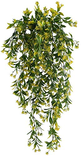 nahuaa 2 pz edera artificiale cadente da esterno rampicante ghirlanda piante finte da appendere fiori gialli foglie in plastica primavera estate decorazione per parete giardino balconi matrimonio