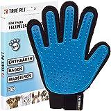 TRUE PET - Fellpflegehandschuh für Hund, Katze & Hase - Enthaaren, Baden & Massieren   Fellbürste für sensible Haut   Hundebürste & Katzenbürste für Mittel- & Kurzhaar   Fellkamm Striegel