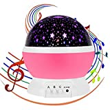 Emwel Night Light Lamp with 12 Soft Musical Star Lighting Lamp Projector, USB Rechargeable 4 beads 360 Degree Romantic Lamp Relaxing Mood Baby Nursery Bedroom Children Room Christmas Gift Pink