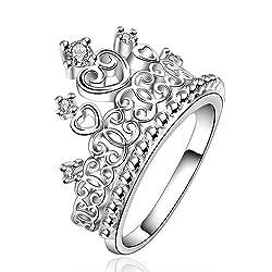 Princess Crown Silver Plated 19 Likes Finger Ring Fashion JewelleryALRG0311SL