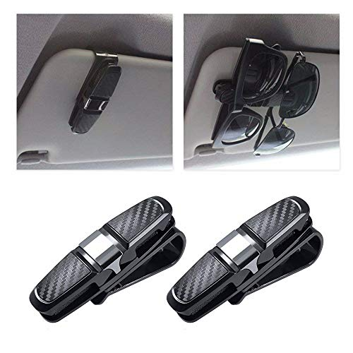 2 Stück Auto Brillenhalter für Auto Sonnenblende, Carbon Sonnenbrillen Halter Clip Sonnenbrille Ticket Bargeld Clip Aufbewahrung Universal Auto Zubehör (Silber)