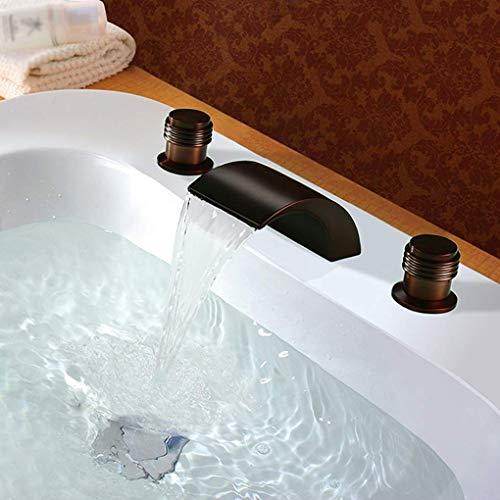 Muzi-Faucet Waschbecken Wasserhahn, Wasserfall Bad Wasserhahn Dreiteilig, Hotel Dekorative Wasserhahn, Waschbecken Wasserhahn, Esszimmer, Bad, Küchenarmatur,Brass