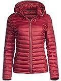 Trisens Damen ÜBERGANGSJACKE Strass Zipper Steppjacke FRÜHLINGSJACKE Jacke, Größe:XXL, Farbe:Bordeaux