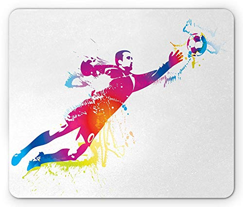 Fußball-Mausunterlage, Torhüter fängt den Ball Ziel Stern Training International Game Artsy Spray Design, Standardgröße Rechteck rutschfeste Gummi-Mousepad, Multicolor,Gummimatte 11,8
