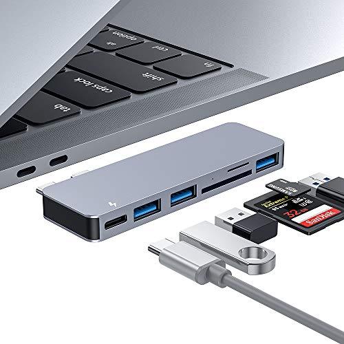 HOPLAZA USB C Hub, Type C Hub Adapter 6 in 1 mit 3 USB 3.0 Anschlüssen, TF/SD-Kartenleser, USB C Stromversorgung, Aluminium Adapter für MacBook Pro 2016/2017/2018, MacBook Air 2018 (Space Grey) (Drucker, Macbook Air)
