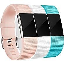 Fitbit Charge 2 Correa, HUMENN Edición Especial Deportes Recambio de Pulseras Ajustable Accesorios para Fitbit Charge 2 Pequeño #3 Rosa+Blanco+Turquesa