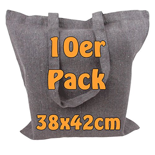 Recyclingtasche aus 100% recycelter Baumwolle Öko - Einkaufstasche robust mit dickem Stoff und langen Henkeln grau meliert 38x42cm Geschenktasche Jutebeutel 10 Stück