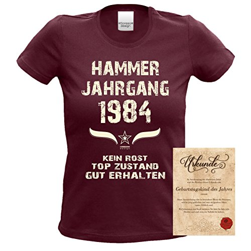 Geschenk zum 33. Geburtstag Hammer Jahrgang 1984 : Damen Frauen Mädchen Girlie Kurzarm T-Shirt - Geschenkidee Geburtstagsgeschenk Geschenkset Farbe: burgund Burgund