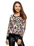 oodji Ultra Damen Bedrucktes Sweatshirt Basic, Mehrfarbig, DE 40 / EU 42 / L