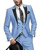 GEORGE BRIDE Herren Anzug 5-Teilig Anzug Sakko,Weste,Anzug Hose,Krawatte,Tasche Platz 002,Hellblau,XXXXXXL