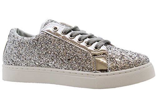 Definitely You Womens Ladies Flat Lace up Glitter Sparkly Casual Sneakers Pumps Trainers Shoes Size (6 UK, Silver)