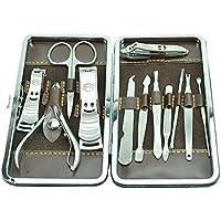 Hard Bone uñas Cuidado manicura pedicura Tijeras Entferner cortaúñas Earpick Grooming Kits Herramientas 12Unidades 15 * 8 * 2.5cm Negro