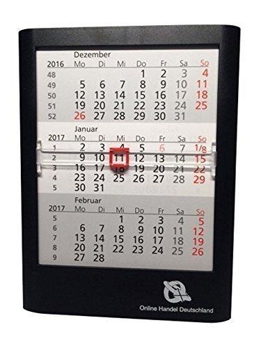 calendario da tavolo 3 mesi, per 2 Anni, 12.5x16x1.4cm, nero