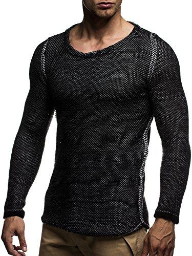 LEIF NELSON Herren Strickpullover Pullover Sweatshirt LN20707 Schwarz