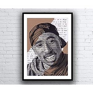 Tupac Shakur Portrait – signed Giclée art print with Changes lyrics. Marker Pen Drawing Kunstdruck A5 A4 A3 sizes 2pac Hip Hop Artwork
