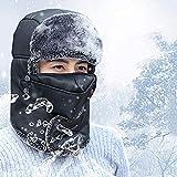 Unisex thermischer Hut, Winter Ohrenklappen-Soldat-Hut, PU-Leder im Freien, Skaten, Skifahren Jagd-Hut mit Plüsch Ohrenklappen-Kinnriemen winddicht mit Maske