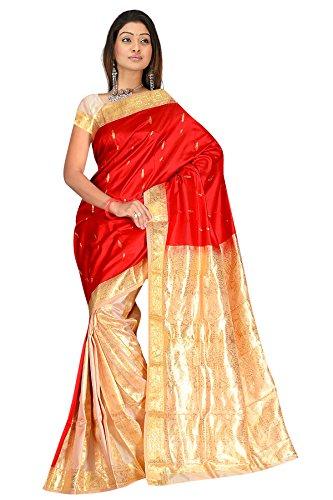 Cream & Multicolor zari work embroidered pure kanjivaram silk sarees