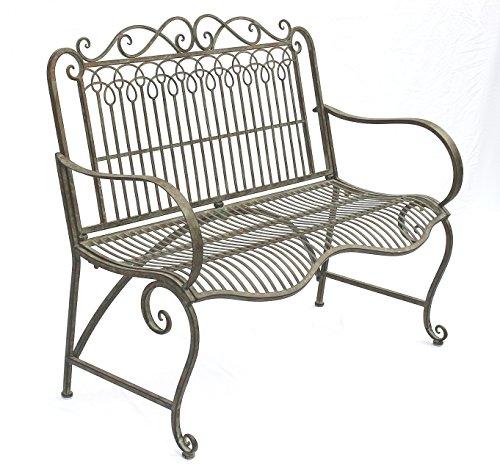 DanDiBo Bank aus Metall Gartenbank JC150014 Sitzbank Parkbank 2-Sitzer 110cm Patina Grün - 2