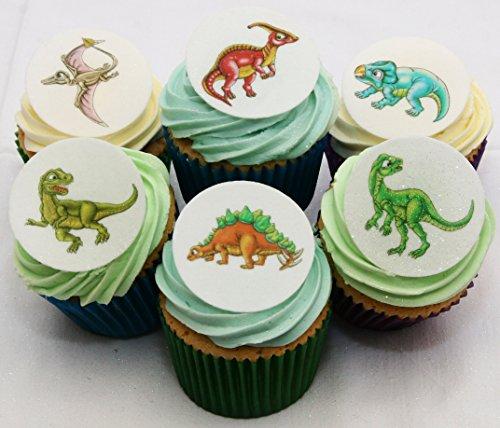 Wunderschöne essbare Kuchendekorationen - 24 Dinosaurier / 24 Edible Dinosaur Cake Decorations
