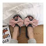 OMFGOD Slippers Frauen Winter Home Hausschuhe Warm Anti-Slip Innen Soft Bequem Baumwolle Velours Liebhaber Boden Schuhe, 38-39, Esche Rosa Schmetterling