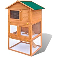 Conejera de Exterior Casa Para Animal Pequeño Jaula de Mascota de Madera - 3 Plantas