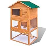 Daonanba Hibou Lapin Extérieur Confortable Cage pour Animaux de Compagnie 3 Couches Bois