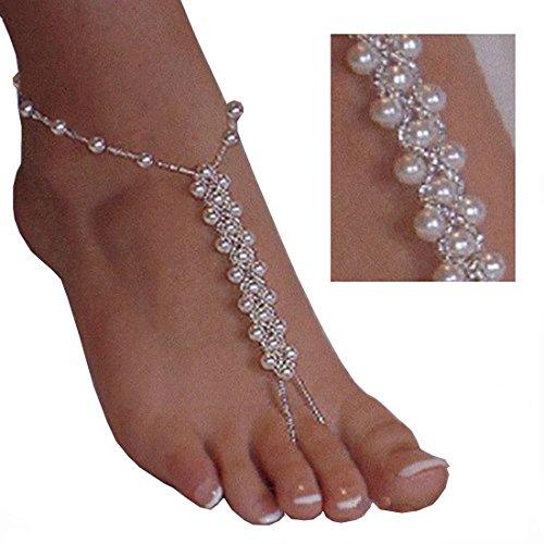 le Braut Fußkettchen Barfuß Sandalen Strand Hochzeit Knöchel Armband Crochet Fußkettchen für Frauen ()