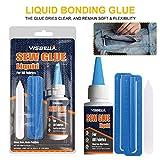 gaeruite Sew Glue, 60ml Kit de Pegamento de Tela de reparación de Pegamento líquido para Ropa Tela de Cuero de Mezclilla