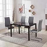 huisen & Hosho Fensterfolie Eßzimmer Stühle 4Stück mit Lendenwirbelstütze Gepolsterte Sitze für Küche Tisch modernes Design Faux Leder Metall Frames chrom Beine Grau