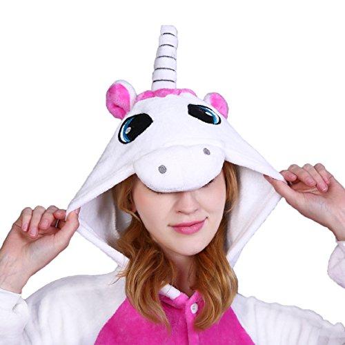 Imagen de tuopuda kigurumi pijamas unicornio unisexo adulto traje disfraz pijamas de animales enteros cosplay animales de vestuario ropa de dormir halloween y navidad m  158 167 cm height , blanco  alternativa