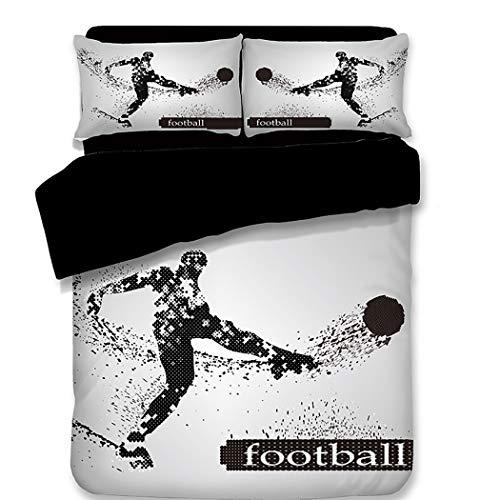 CHICKZ Mode Basketball Fußball Sport Bettwäschesatz 3D Gedruckt Sport Bettbezug Kissenbezüge Königin Twin Bett Kinder Bettwäsche (#5,King / 220 * 230cm) -