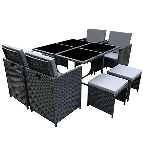 POLY RATTAN Essgruppe Rattan Set mit Glastisch Garnitur Gartenmöbel Sitzgruppe Lounge (4 Stühle, Schwarz)