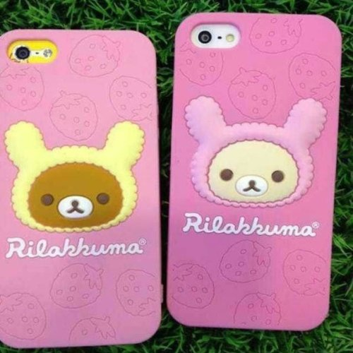 Little Bear Soft Case Gel Tasty Strawberry Silica pour l'iPhone 4 4S rose