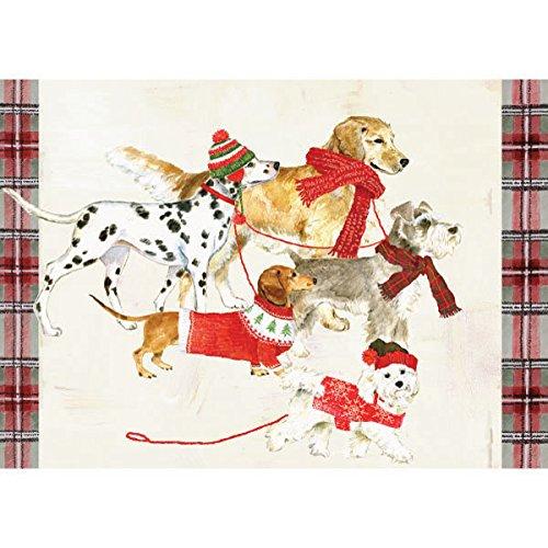 Graphique Dog Party Karten - 15 verzierte Glitzerfeiertagskarten mit Hunden in Schals, Weihnachtskarten, inklusive passenden Umschlägen und Aufbewahrungsbox, 12 x 17 cm