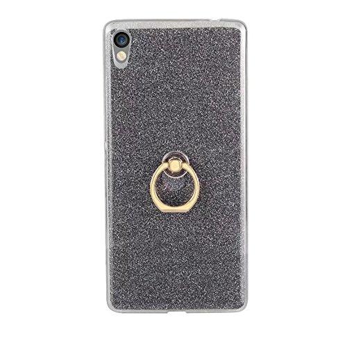 EKINHUI Case Cover Soft Flexible TPU Back Cover Case Shockproof Schutzhülle mit Bling Glitter Sparkles und Kickstand für Sony Xperia C6 ( Color : White ) Black
