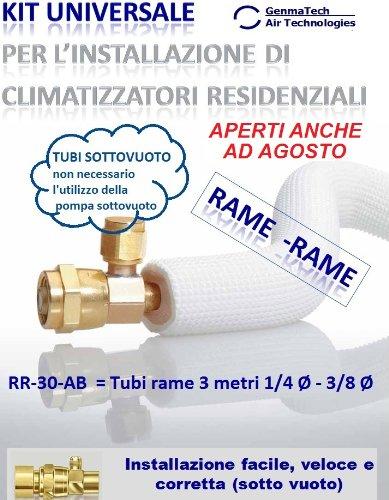 KIT FAI DA TE PER INSTALLAZIONE CLIMATIZZATORI/CONDIZIONATORI -Tubi rame 3 metri 1/4 Ø - 3/8 Ø
