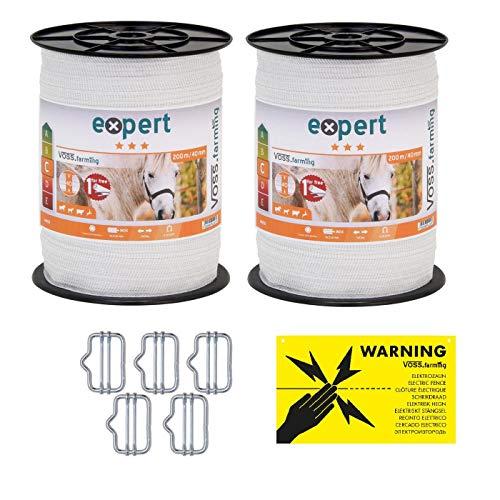 VOSS.farming Doppelpack Weidezaunband - Breitband - Elektrozaun-Band - 22{a7c7b0544375f0f6b238d30238bde025dc6d7b9b768f436c7012a0c946c6ba86} höhere Leitfähigkeit, inklusive Zubehör - je Band 200 Meter Länge und 40mm breit