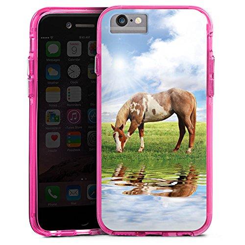 Apple iPhone X Bumper Hülle Bumper Case Glitzer Hülle Ponny Horse Pferd Bumper Case transparent pink
