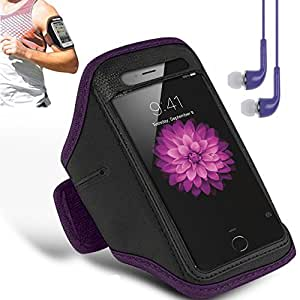 N+ INDIA Lenovo ZUK Z2 Adjustable Armband Gym Running Jogging Sports Case Cover Holder with free earphone with mic Purple