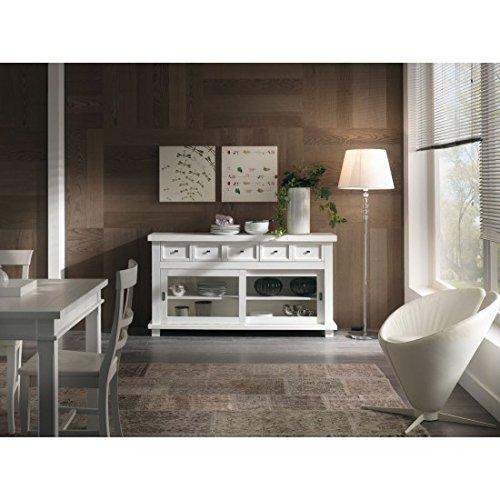 Buffet dispense vitrine Country Design Laqué Blanc Bois massif – comme photos blanc et ivoire