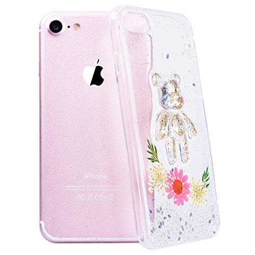 WE LOVE CASE iPhone 7 Plus Cover Fiore Vero e Orso Trasparente Glitter iPhone 7 Plus 5,5 Custodia Verde Case Silicone Soft Flessibile Elegant Belle Protettiva , Antiurto Ultraslim Bumper , TPU Gel Go Pink